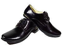 Туфли женские комфорт натуральная кожа черные на шнуровке (15)