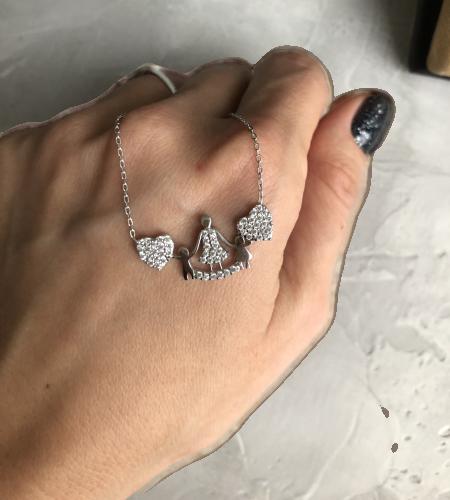 Кулон из серебра Мої прикраси два сердца и семья  родированый