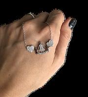 Кулон из серебра Мої прикраси два сердца и семья  родированый, фото 1