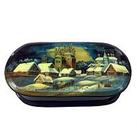 Деревянная шкатулка лаковая Зимний пейзаж