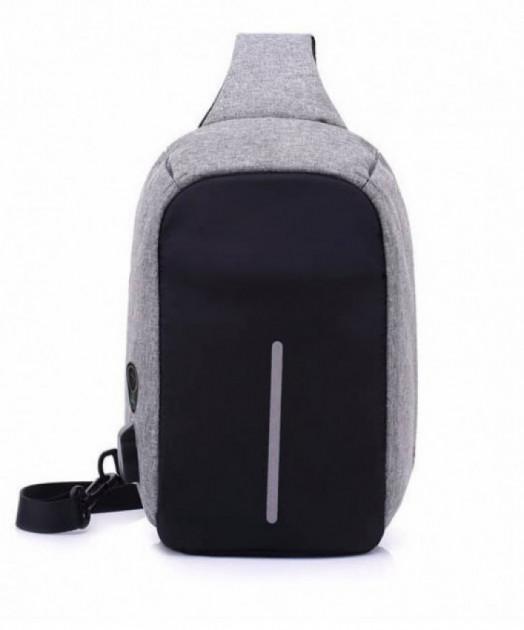 Рюкзак Антивор Вobby mini однолямочный с защитой от карманников + USB-порт Серый
