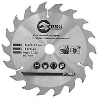 Диск пильный Intertool 185 х 18T х 20 мм (CT-3040)