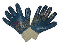 Перчатки нитриловые с вязаной манжетой, нитрил синий маслостойкие, покрытые нитрилом,КЩС МБС