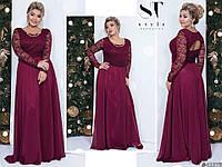 Ошатне бордове жіноче батальне видовжене верх плаття з гіпюру з брошкою. Арт-7677/65