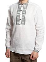 Белая мужская вышиванка больших размеров (S-4XL)