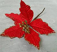 Новорічна прикраса пуансетія 4L47-07, 13 см червона Новогоднее украшение пуансетия