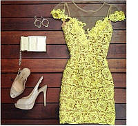 Женское желтое платье, короткое платье, плаття
