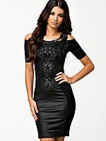 Платье с кружевом, гипюровое платье, черное платье, плаття