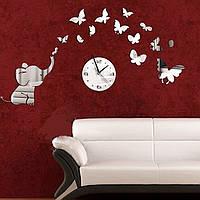 Настенные зеркальные наклейки с настоящими часами слоник с бабочками