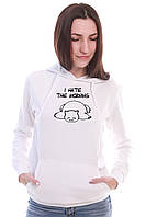 Жіноча біла тепла кофта з капюшоном MORNING, фото 1