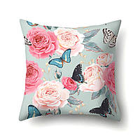 Подушка декоративная Бабочки и розы 45 х 45 см Berni