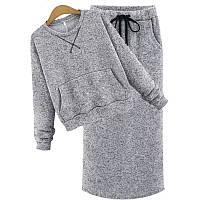 Теплый серый костюм на флисе зимний свитер и юбка макси длинная s m l xl CAVALIERI
