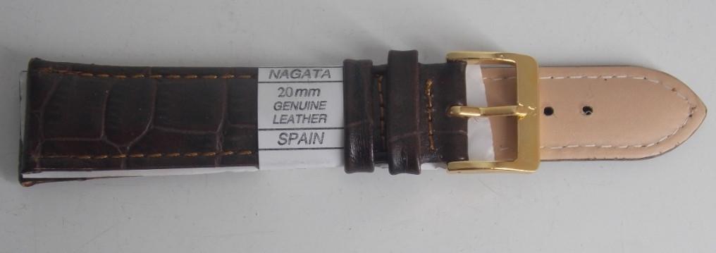 Ремешок кожаный NAGATA (ИСПАНИЯ) 20 мм, темно-коричневый