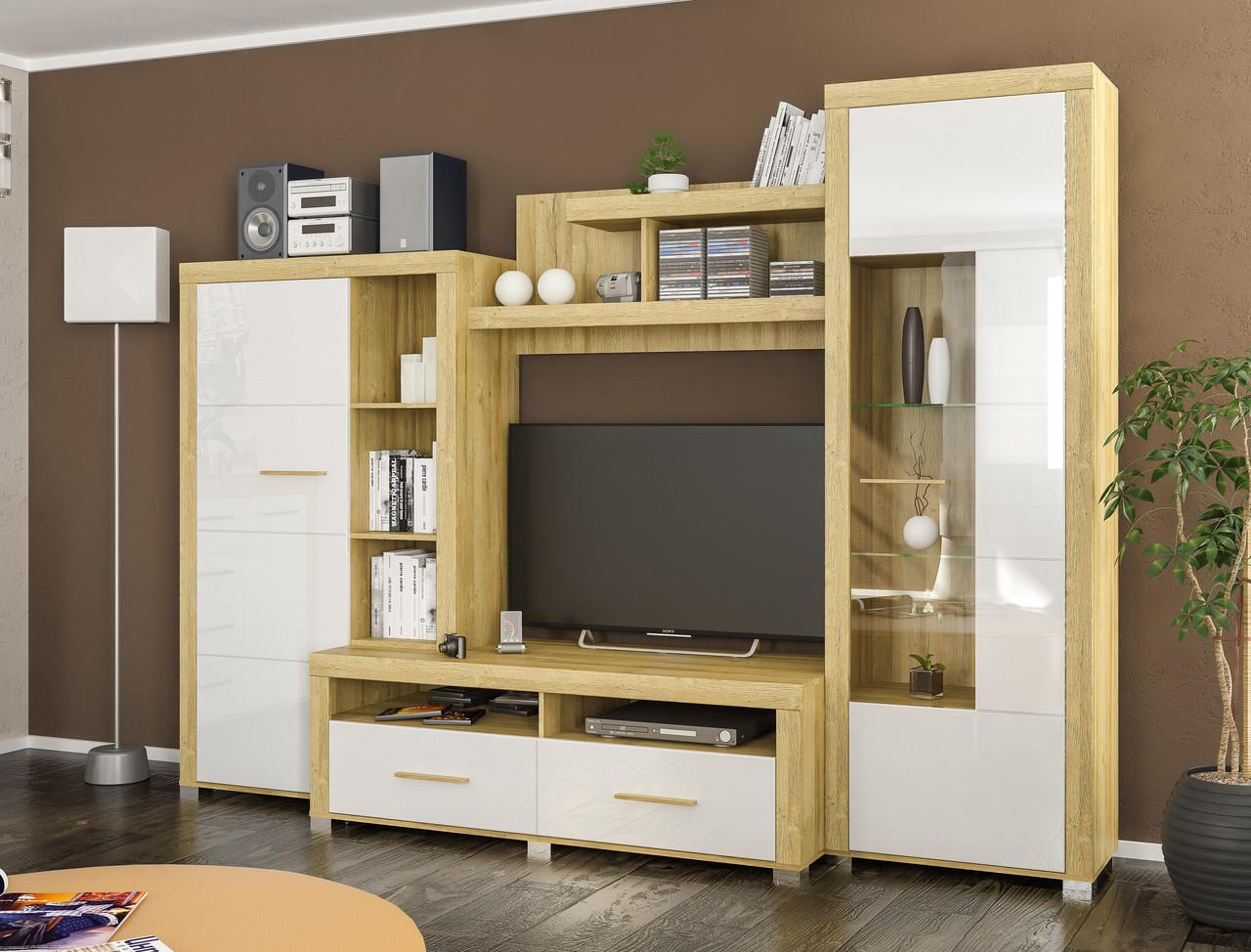 Стенка Неон 1 белый глянец Мебель-сервис