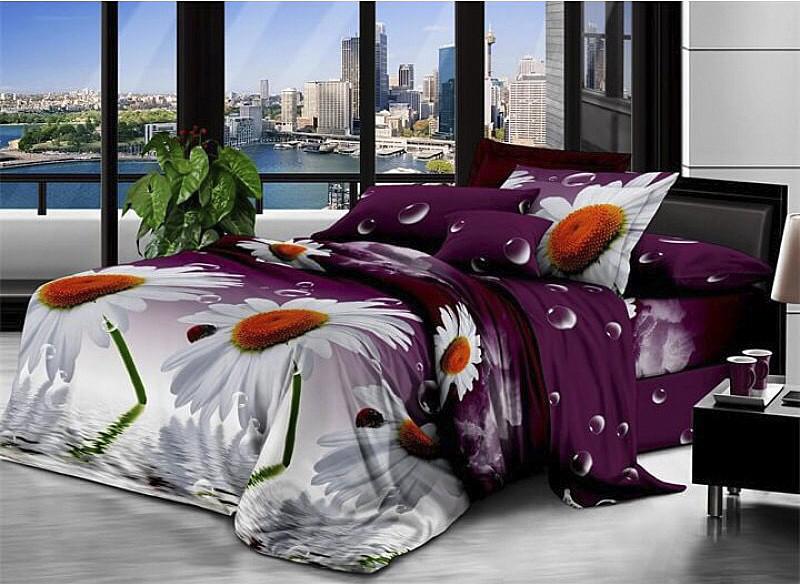Двоспальний постільний комплект - Ромашки на фіолетовому