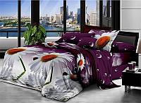 Сімейна постільна білизна бязь голд - Ромашки на фіолетовому