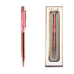 Ручка шариковая Chicardi ROSE GOLD с глиттером Золотистый RG-001, КОД: 225722