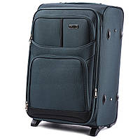 Большой тканевый чемодан Wings 206 на 2 колесах зеленый
