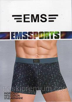 Трусы мужские боксеры EMS хлопок с бамбуком, размеры L-3XL, N125