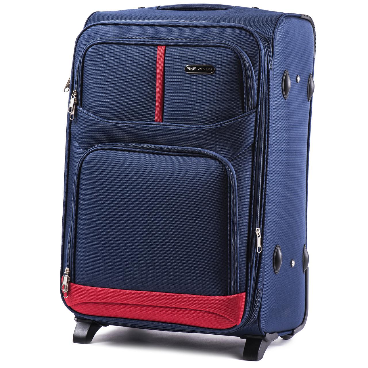 Большой тканевый чемодан Wings 206 на 2 колесах синий