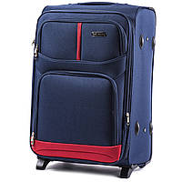 Большой тканевый чемодан Wings 206 на 2 колесах синий, фото 1