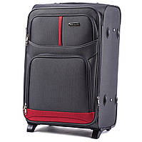Большой тканевый чемодан Wings 206 на 2 колесах серый