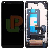 Дисплей для LG M700A Q6 Dual Sim  /M700N + тачскрин, черный, в рамке, оригинал (Китай)