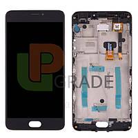 Дисплей для Meizu M3 Note (M681H) + тачскрин, черный, с передней панелью, 30 pin