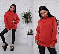 Теплый свитер на зиму с высоким воротником красного цвета 42-46 р, вязаные женские свитера оптом