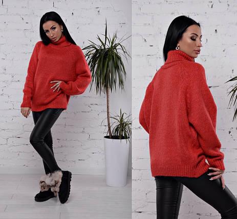 теплый свитер на зиму с высоким воротником красного цвета 42 46 р