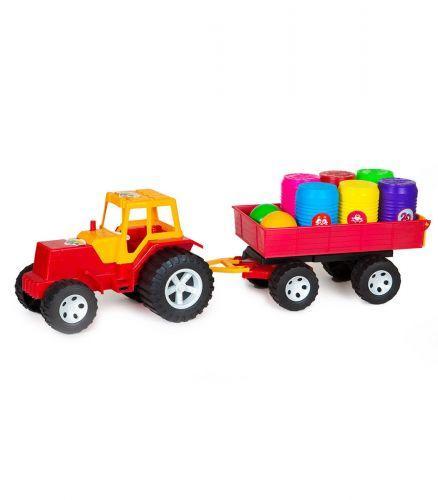 Трактор с прицепом и бочонками (красный)