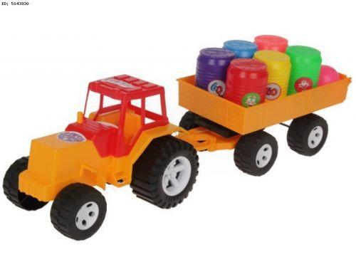 Трактор с прицепом и бочонками (желтый)