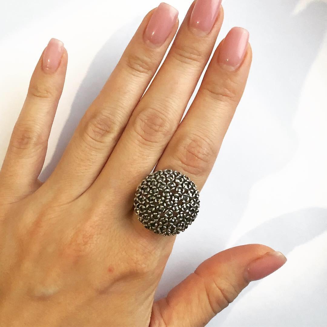 Кольцо из серебра 925 3D круглое, фото 1