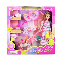 """Беременная кукла Барби """"Defa"""" с ребёнком и аксессуарами (в клеточку)"""