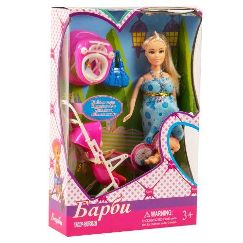 """Беременная кукла """"Барби"""" (в голубом платье)"""