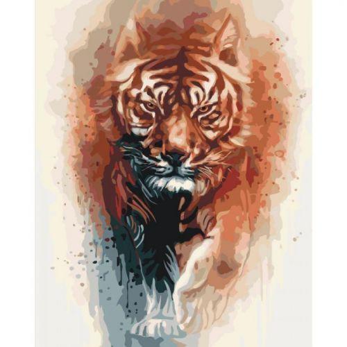 "Картина по номерам ""Огненная сила тигра"""