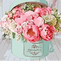 """Картина по номерам """"Коробочка счастья"""" (букет цветов, розы, подарок для женщины, подарок для девушки)"""