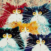 """Картина за номерами """"Сімейство котів"""""""