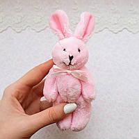 Розовый кролик мягкий брелок-миниатюра, 15 см