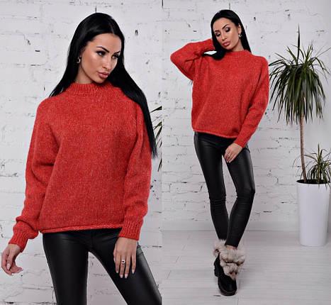 укороченный вязаный свитер красного цвета 42 46 р вязаные женские