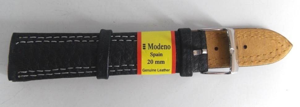 Ремешок кожаный MODENO (ИСПАНИЯ) 20 мм, черный бел.стр.
