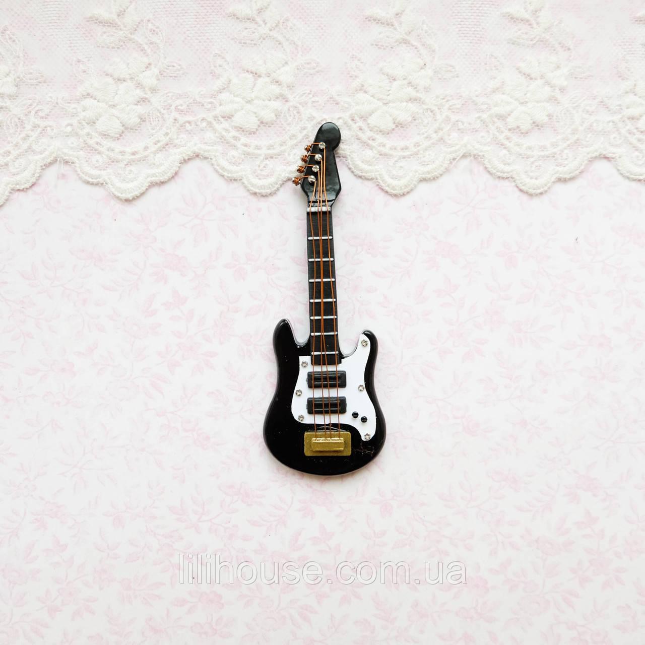 1:12 Миниатюра Гитара Бас 8.8 см ЧЕРНО-БЕЛАЯ