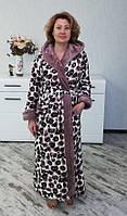 Длинный халат махровый женский с капюшоном (леопард), фото 1