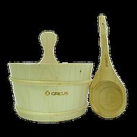 Набор Greus сосна (шайка 4 л + черпак) с пластиковой вставкой для бани и сауны, фото 1