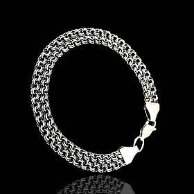 Срібний браслет, 215мм, 13 грам, плетіння подвійний Бісмарк, чорніння