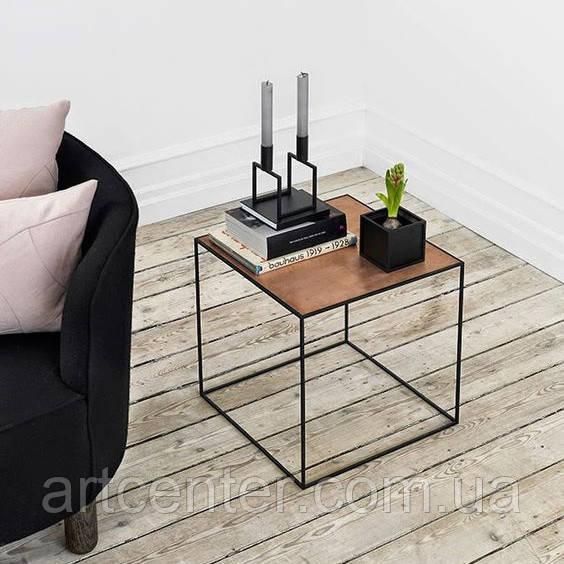 Журнальный квадратный стол LOFT, стол из дерева, стол из металла
