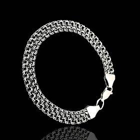 Серебряный браслет, 210мм, 14 грамм, плетение двойной Бисмарк, чернение