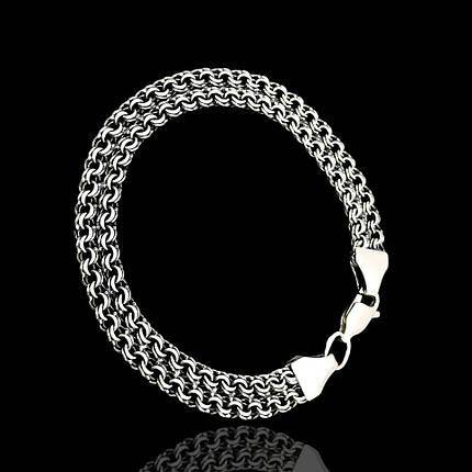 Серебряный браслет, 210мм, 14 грамм, плетение двойной Бисмарк, чернение, фото 2