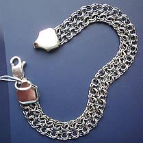 Серебряный браслет, 210мм, 14 грамм, плетение двойной Бисмарк, чернение, фото 3