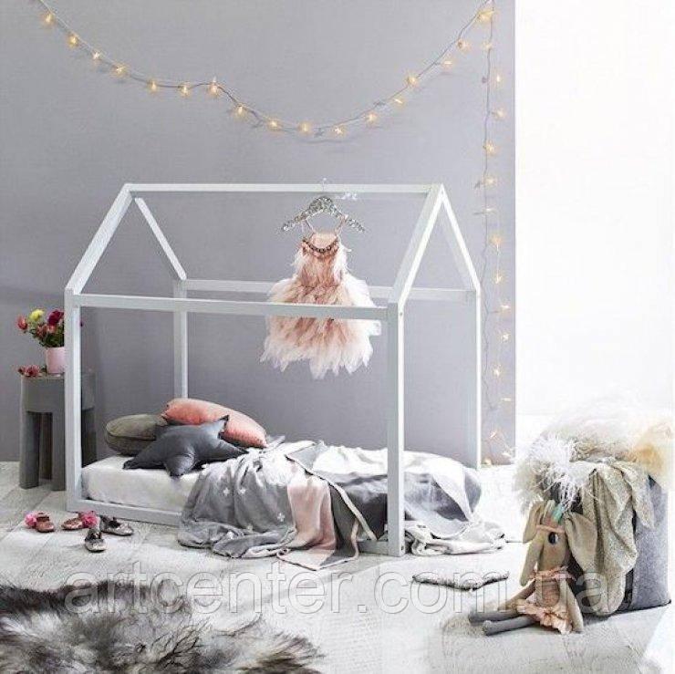 Кроватка-домик напольная, кровать детская по Монтессори, белая